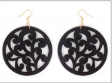 Round Black Wood Filigree Earrings MJB