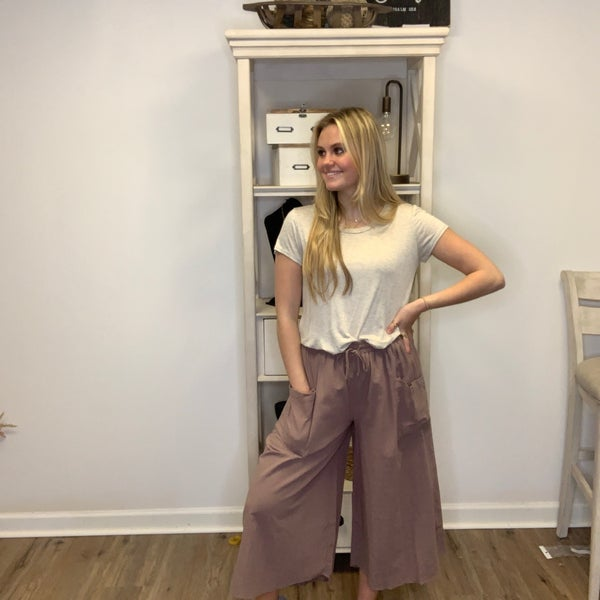 Boutique Item Easel Mocha Colored Wide Leg Pant with Tie Front MJB