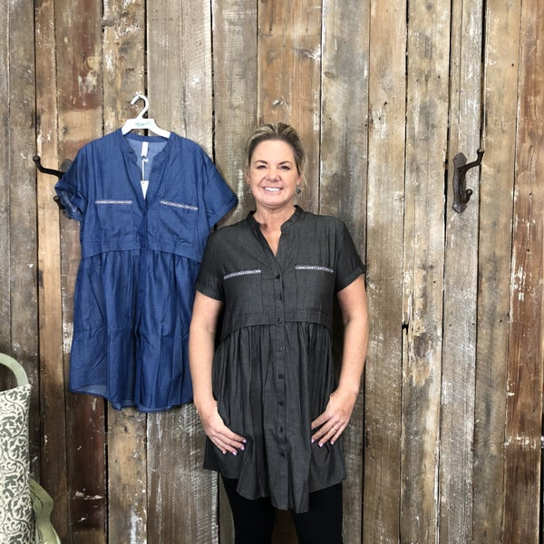 Solid Short Sleeve Button Front Dress with Button Cuff Detail(GA2)