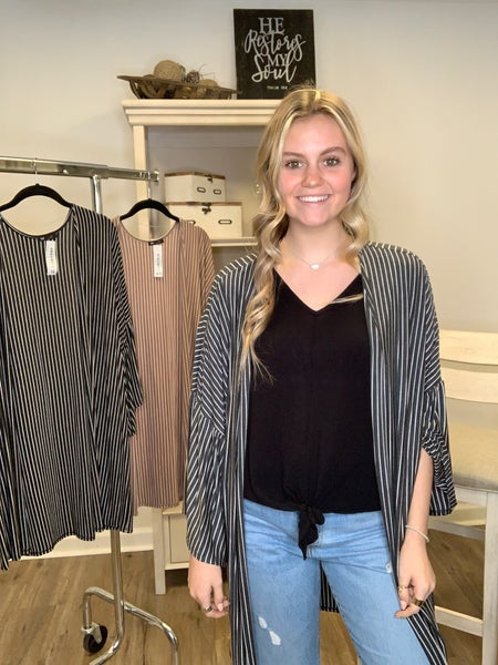 Lightweight Striped Cardigan with 3/4 Bell Sleeve
