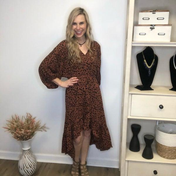 Boutique Item Umgee Cinnamon Colored Dalmatian Print High Low Dress with Ruffle Hem MJB