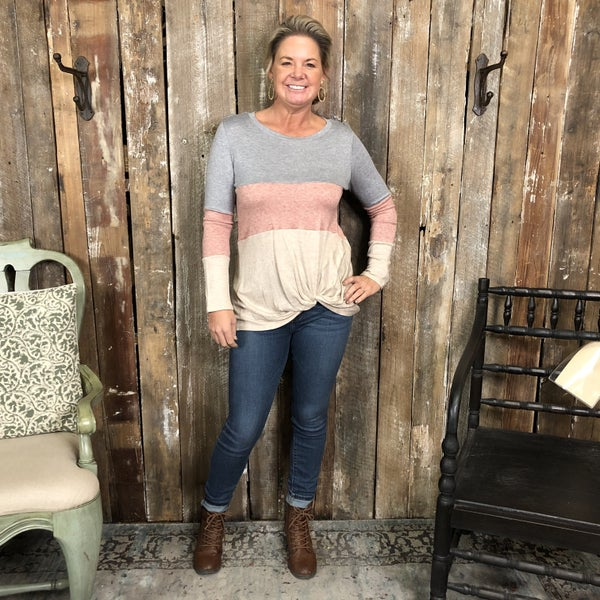 Grey/Pink/Taupe Color Block Long Sleeve Top with Knotted Hem(GA2)