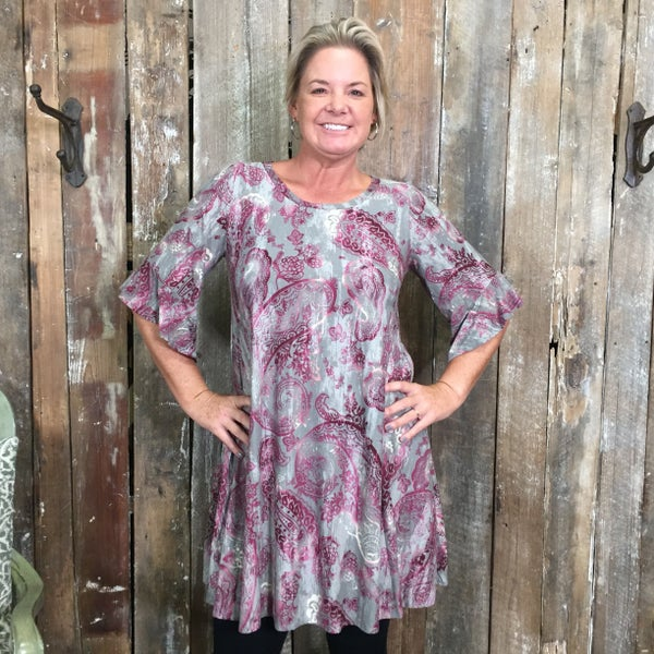 Grey/Purple Paisley Print Tunic with Ruffle Trimmed Sleeves and Pockets (GA2)