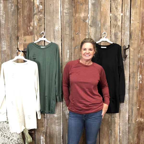 Solid Long Sleeve Distressed Top/Tunic with Round Neckline (GA2)