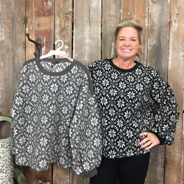 Solid Long Sleeve Sweater  with White Snowflake Print(GA2)