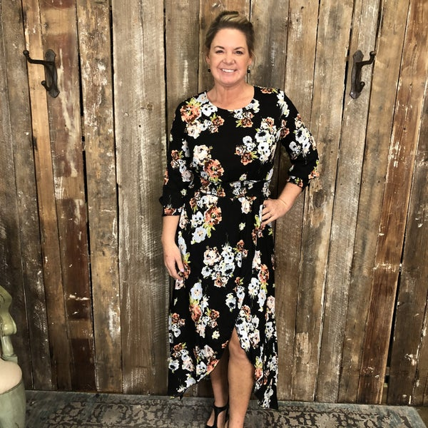 Black Floral Print Faux Wrap Dress with Shirred Waist and High/Low Hem (GA2)