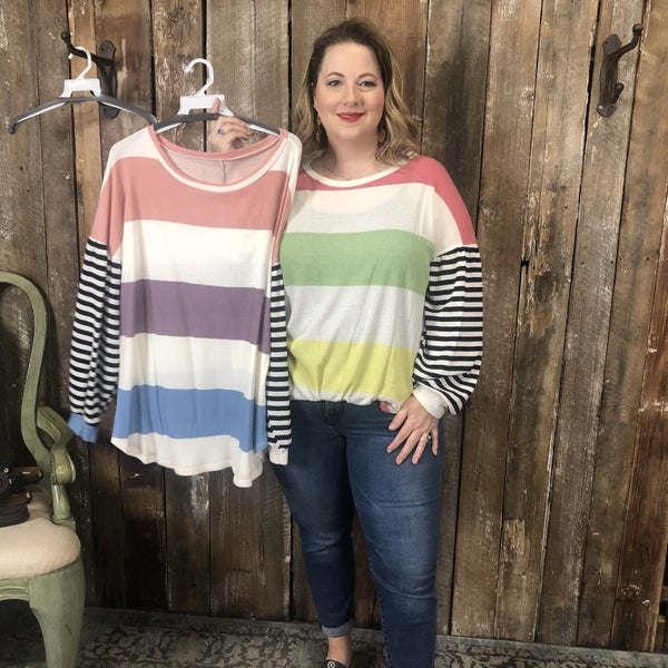 Plus Multi Color Striped Top with Contrasting Black/White Striped Sleeves(GA2)
