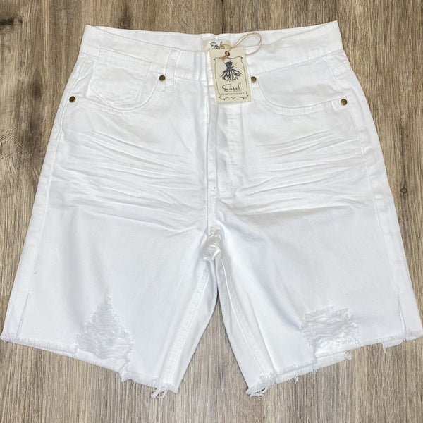 Boutique Item: Easel White Distressed Denim Button up Shorts