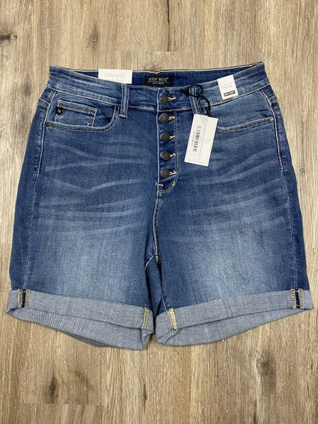 Boutique Item: Plus Size Judy Blue  Mid Thigh Button Front Cuffed Denim Shorts
