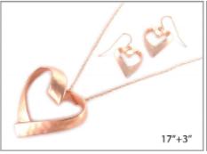 Matte Rose Gold Organic Heart Necklace Set