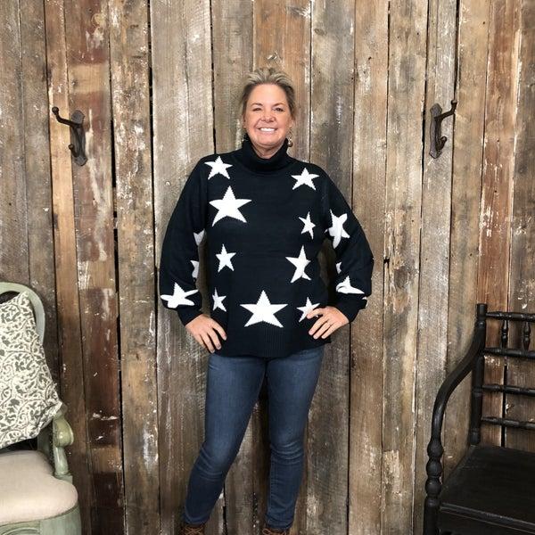 Navy/White Star Pattern Turtleneck Sweater (GA2)