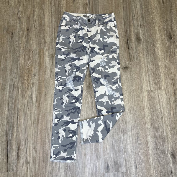 Boutique Item: Easel Light Ash Camouflage Distressed Ankle Length Jeans