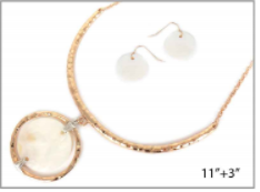 Gold with Metal and Shell Pendant Necklace Set
