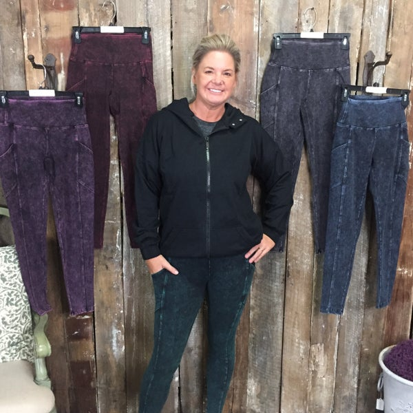 Mineral Washed Wide Waistband Full Length Leggings with Pockets (GA2)