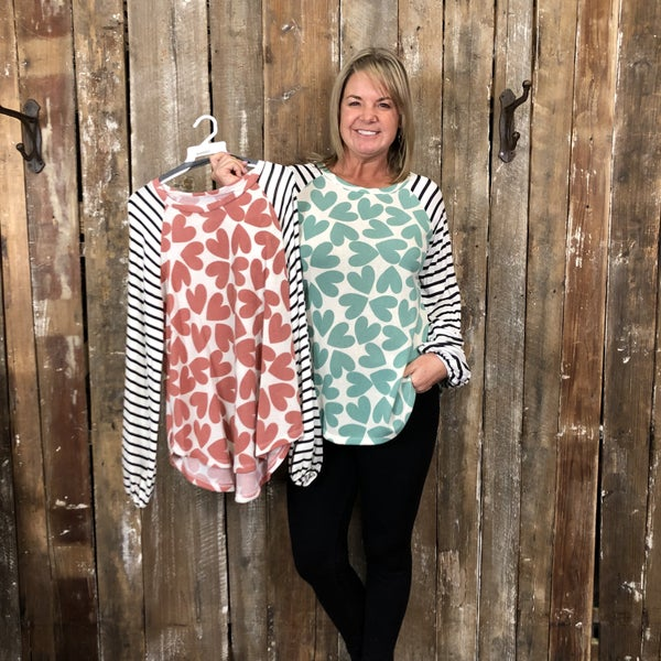 Heart Print Top with Contrasting White/Black Striped Sleeves (GA2)