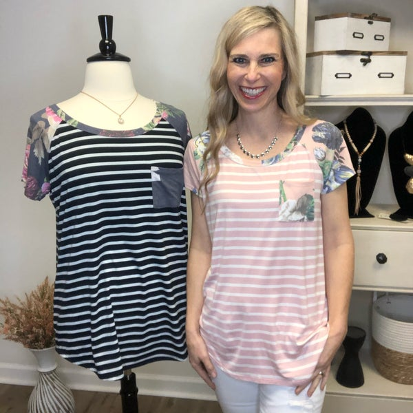 Stripped Short Sleeve Top
