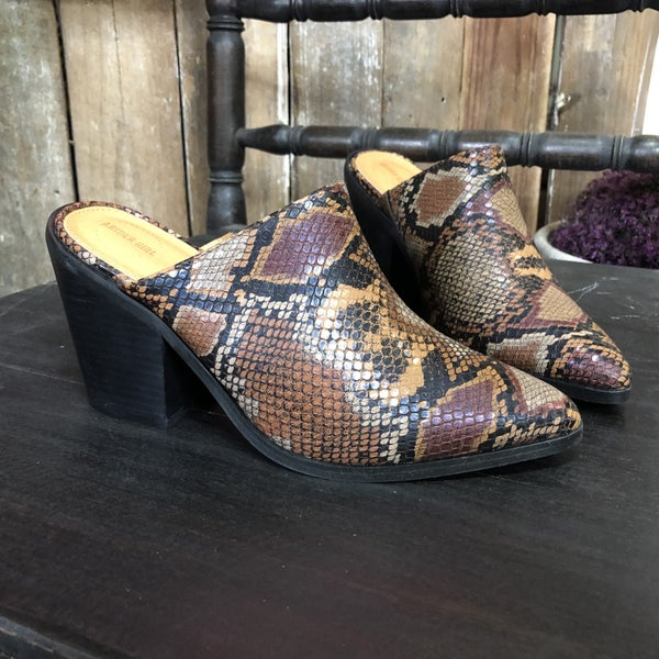 Brown Snake Skin,  Pointed Toe, Chunky Heeled Mules (GA2)