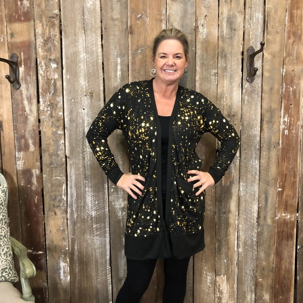 Black/Gold Star Print Open Front Cardigan with Pockets (GA2)