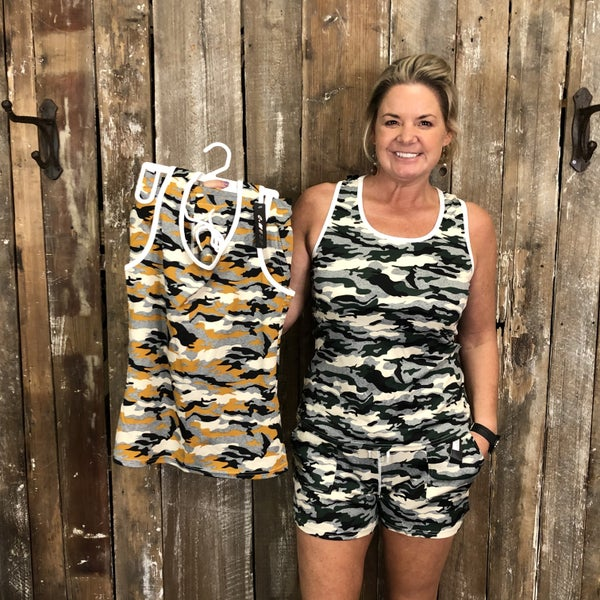Camo Print Sleeveless/Shorts Set (GA2)