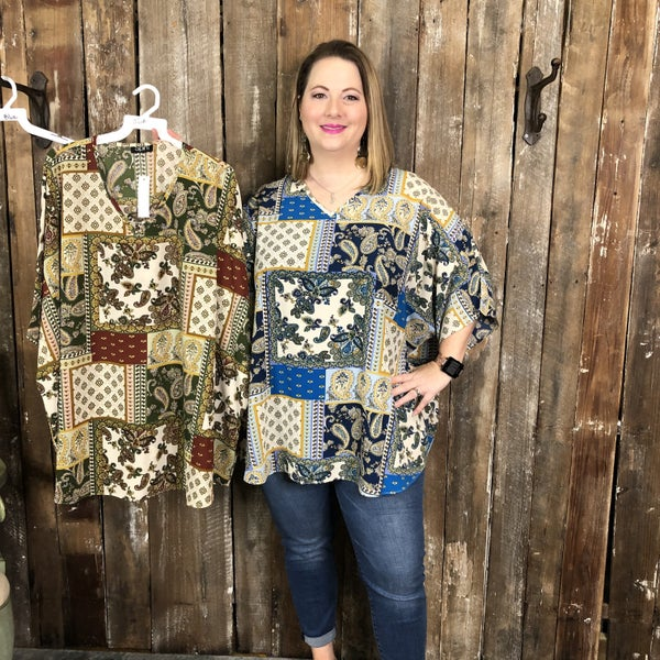 Plus Oversized Paisley/Patchwork Top with V-Neck(GA2)