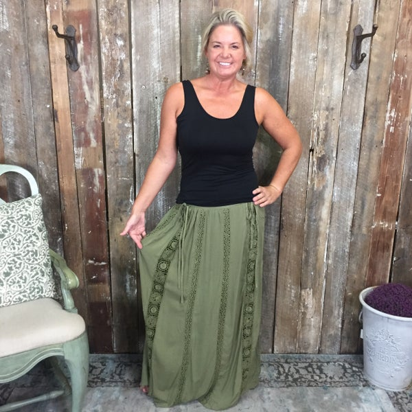 Olive Long Peasant Style Skirt with Crochet Lace Detail and Short Lining (GA2)