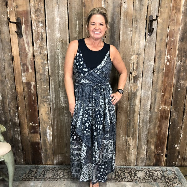 Navy/White Patchwork Print Maxi Dress with Faux Layered Top and Raffled Skirt, Lined (GA2)