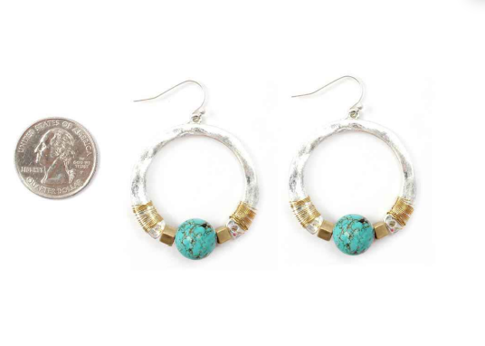 EARRING, ROUND METAL W. TURQUOISE BEAD