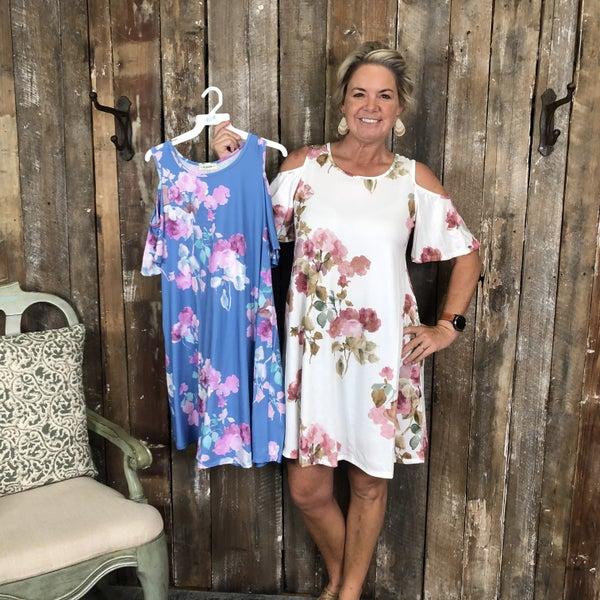 Cold Shoulder Floral Print Dress with Pockets (GA2)