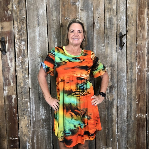Sunset Colored Babydoll Dress/Tunic w/Ruffle Trimmed Sleeves and Pockets (GA2)