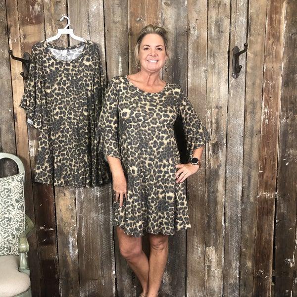 Ribbed Animal Print Dress/Tunic with Pockets and Ruffled Sleeves (GA2)