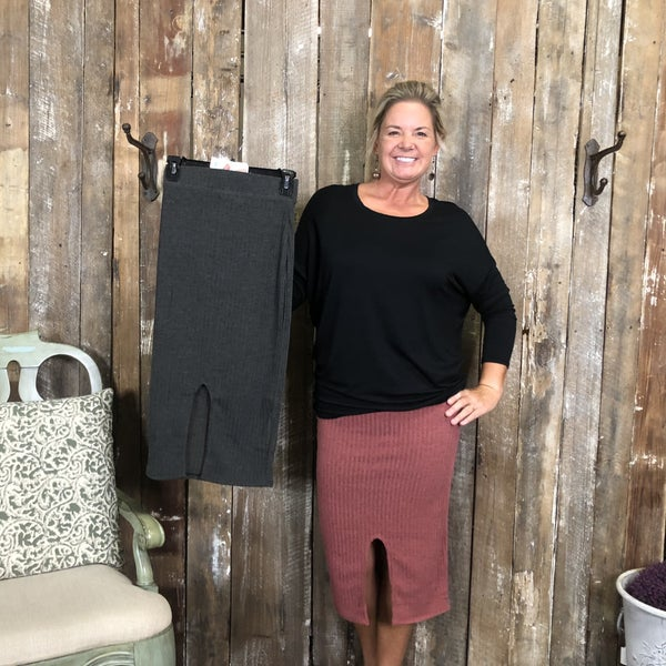 Solid Waffle Knit Skirt with Slit (GA2)