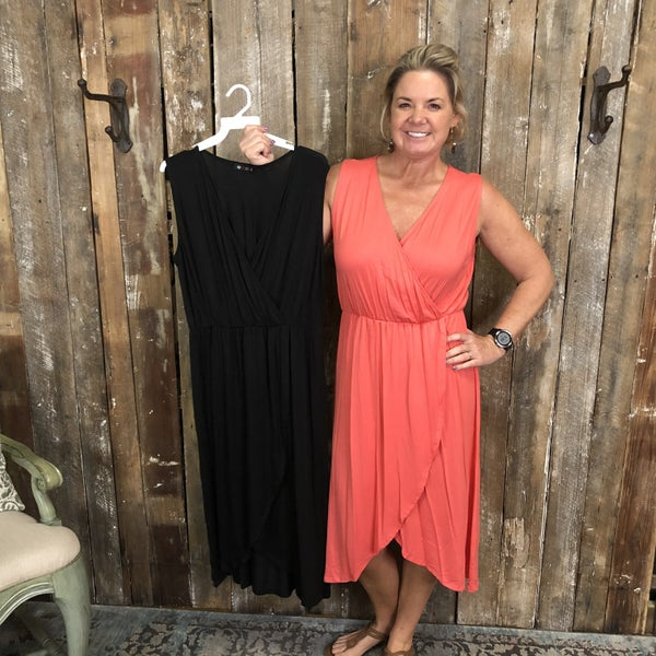 Solid Sleeveless Dress with Elastic Waist and Faux Wrap(GA2)