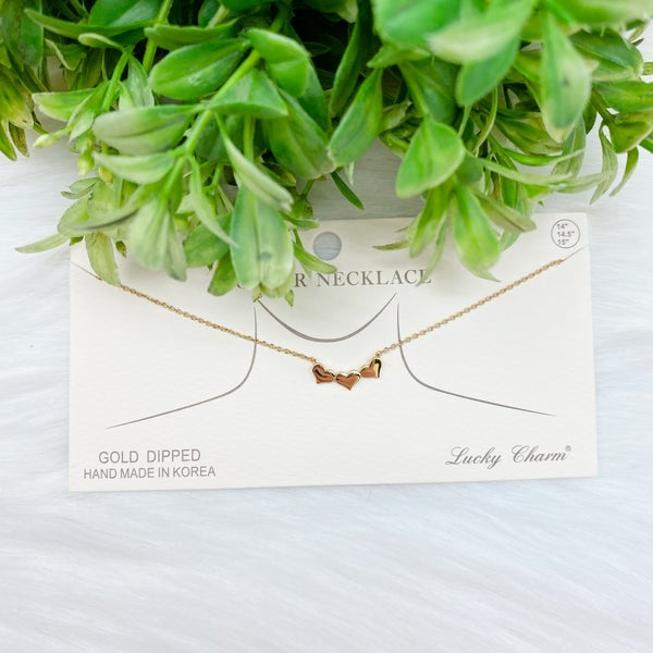 Three Heart Collar Necklace, Gold