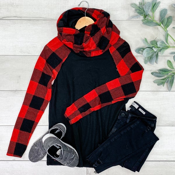 *PLUS* Cowl Neck Solid and Plaid Raglan Top, Black/Red