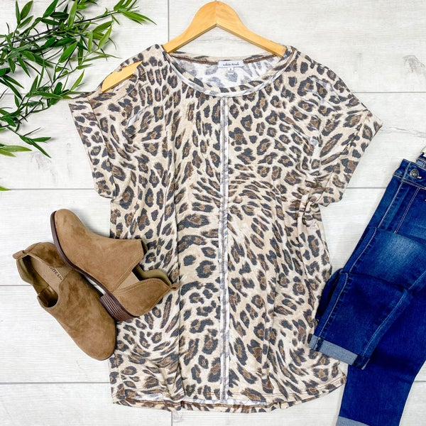 Leopard Print Cuffed Sleeve Distressed Top, Beige