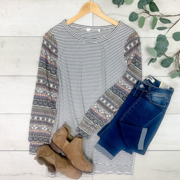 Contrast Striped Top w/Patterned Sleeves, Gray