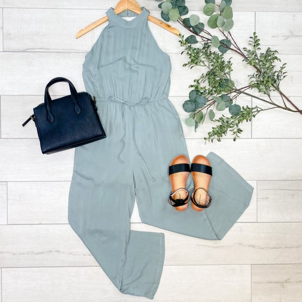 *Kendra's Collection* Halter Neck Jumpsuit, Light Sage