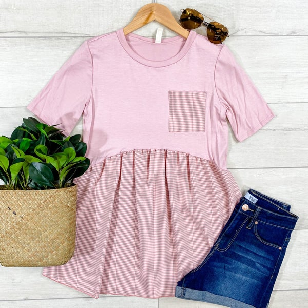 Contrast Babydoll Top, Pink *Final Sale*