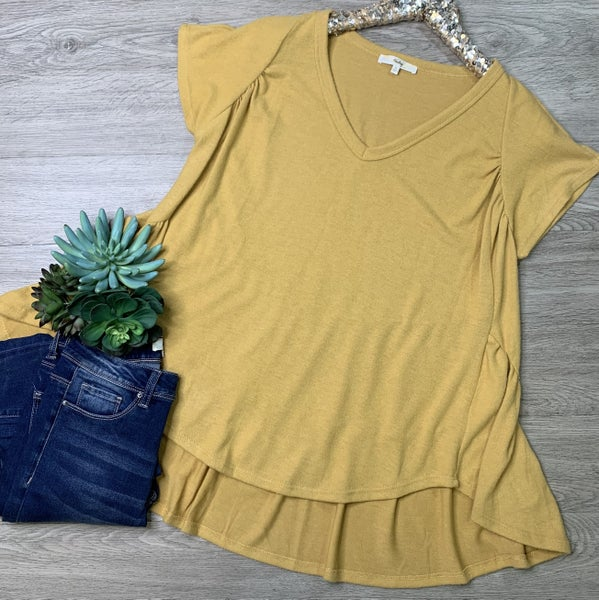 *Kendra's Collection* Ruffled Back V-Neck Top, Marigold