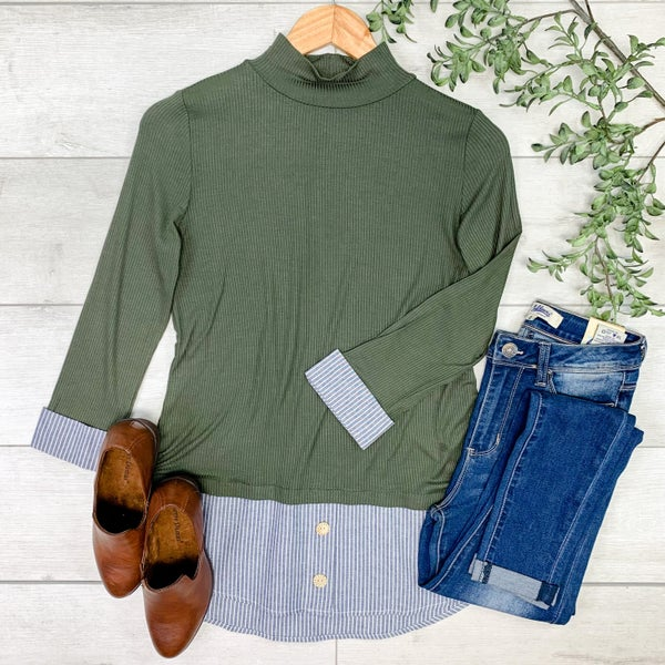 Solid Top w/Mock Under Shirt, Dark Olive