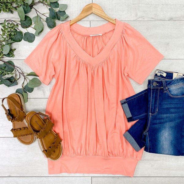 Solid V-Neck Shirring Top, Coral