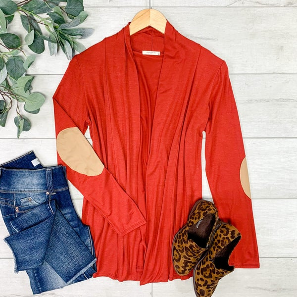 Solid Cardigan w/Elbow Patches, Rust