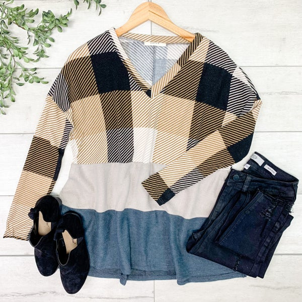 Plaid Color Block V-Neck Tunic Top, Taupe