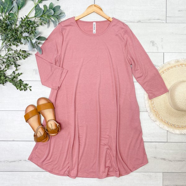 *PLUS* Solid Swing Dress w/Pockets, Dusty Rose [[LIVE]]