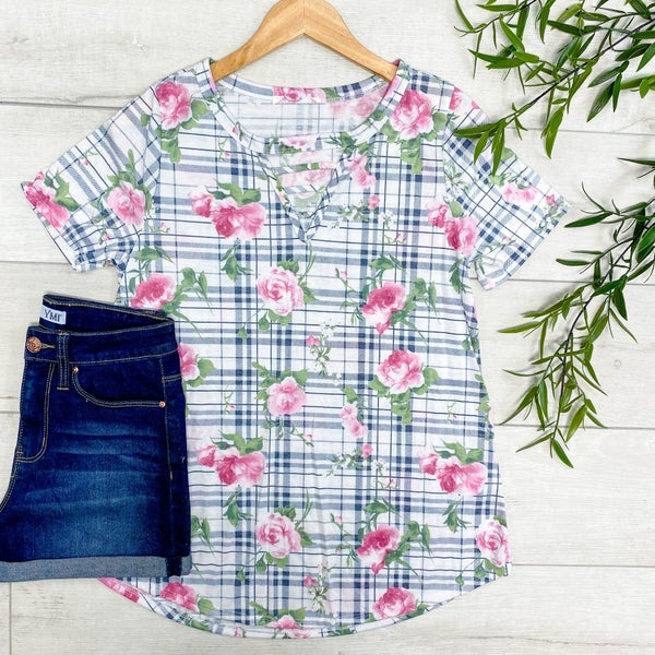 Plaid & Floral Top w/ Caged Neck- Navy
