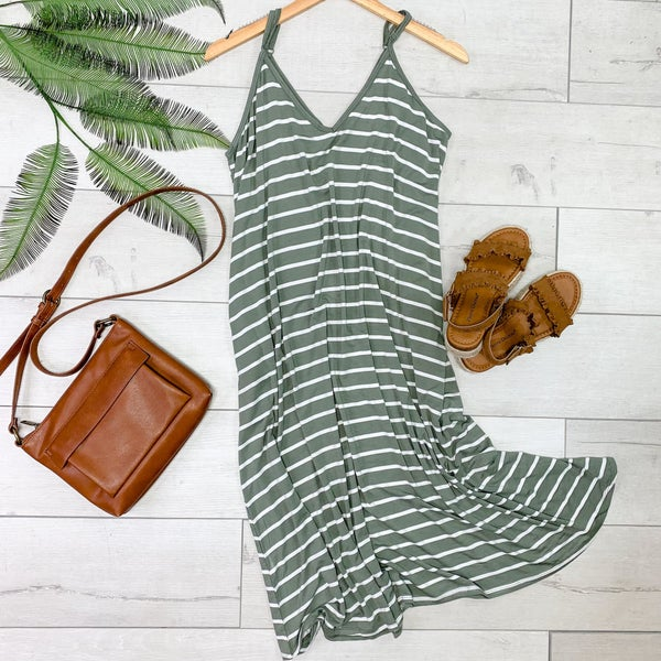 Striped Cami V-Neck Dress, Light Olive