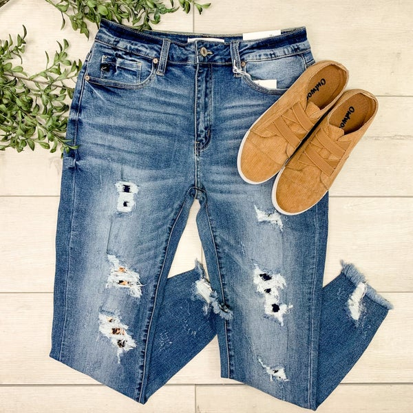 *Kendra's Collection* High Rise Distressed Ankle Skinny w/ Leopard Patch - LIGHT