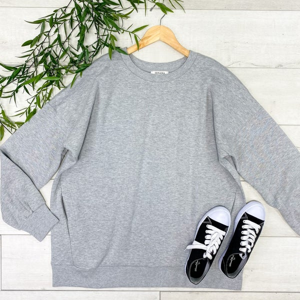 *PLUS* Long Sleeve Round Neck Sweatshirt w/ Pockets, H Grey