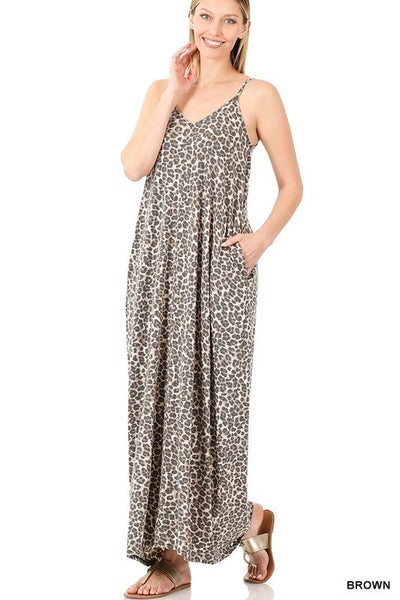 Leopard Print V-neck Maxi Dress - BROWN