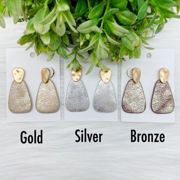Leather Raindrop Glitter Earrings *Final Sale*